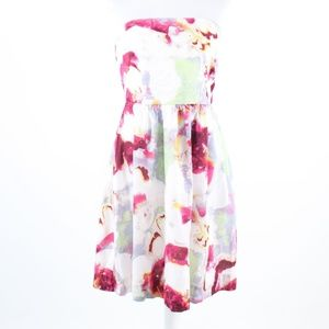 Dark pink white floral BANANA REPUBLIC dress 10 P